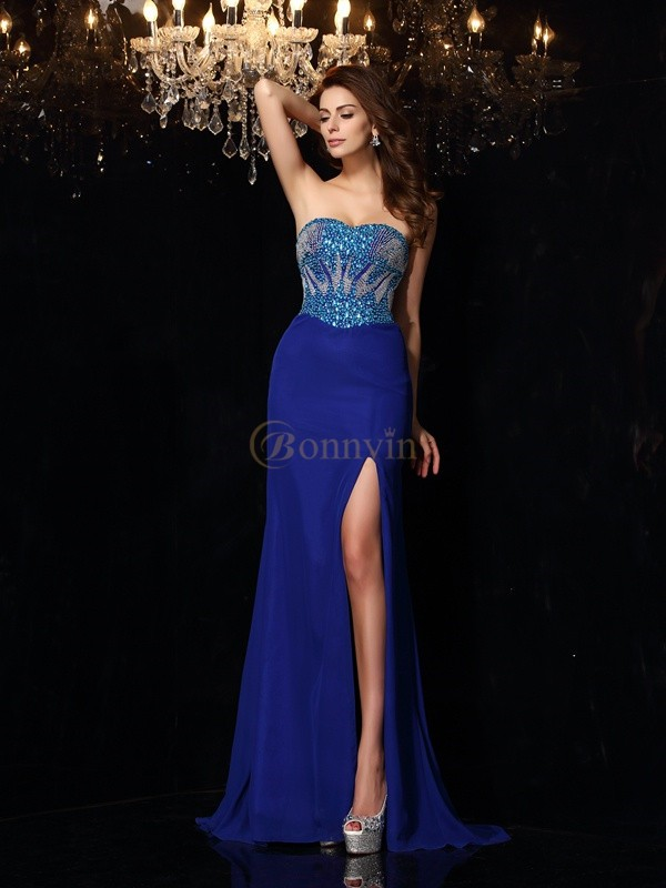 Royal Blue Chiffon Sweetheart Sheath/Column Sweep/Brush Train Dresses