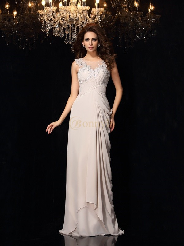 Grey Chiffon Bateau Trumpet/Mermaid Sweep/Brush Train Dresses