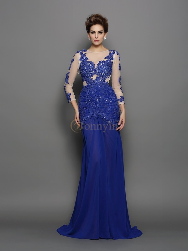 Royal Blue Chiffon Scoop Trumpet/Mermaid Sweep/Brush Train Dresses
