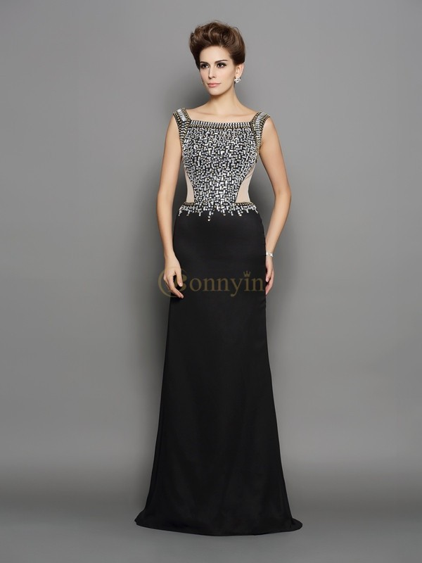 Black Chiffon Square Trumpet/Mermaid Sweep/Brush Train Dresses