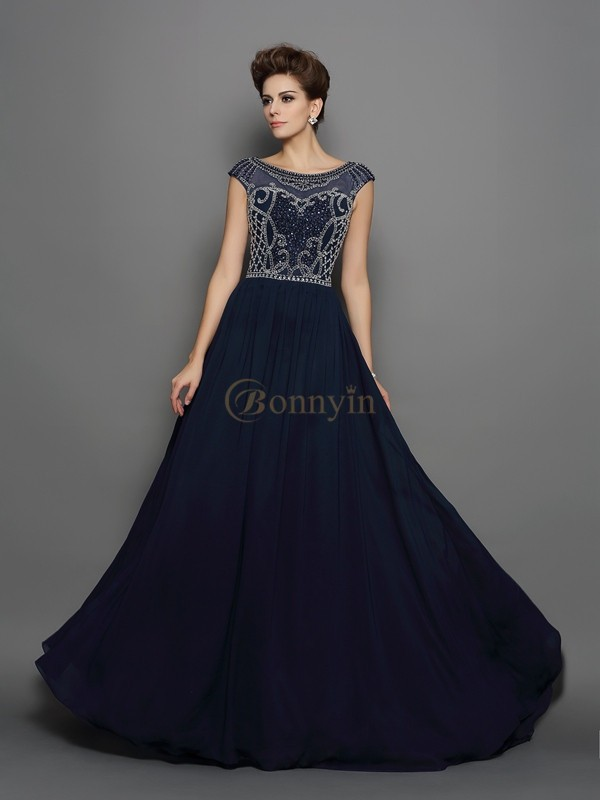 Dark Navy Chiffon Scoop A-Line/Princess Sweep/Brush Train Dresses