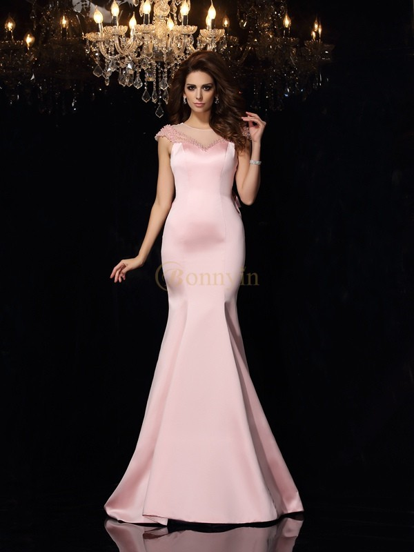 Pink Satin Scoop Trumpet/Mermaid Court Train Dresses