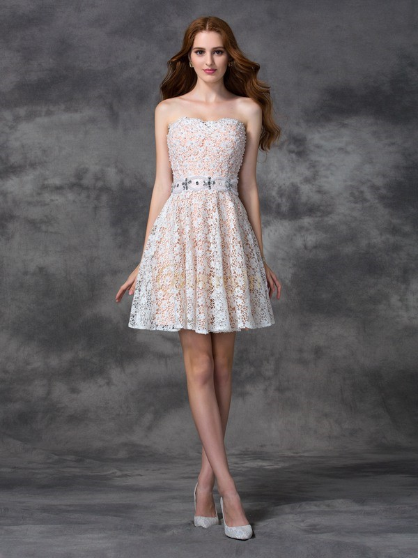 White Lace Sweetheart A-line/Princess Short/Mini Cocktail Dresses