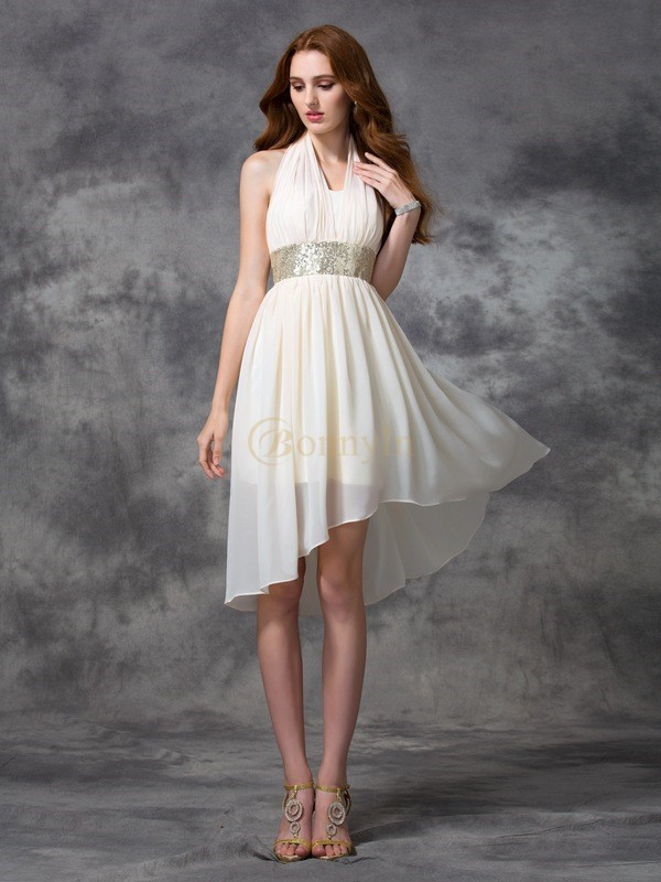 Ivory Chiffon Halter A-line/Princess Asymmetrical Cocktail Dresses