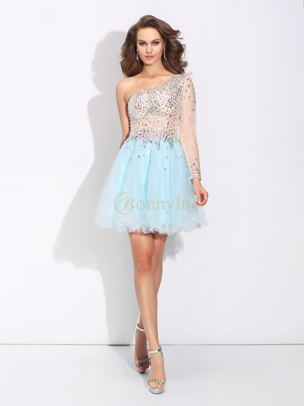 Light Sky Blue Elastic Woven Satin One-Shoulder A-Line/Princess Short/Mini Cocktail Dresses