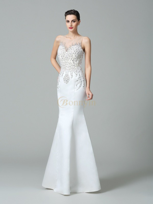 White Satin Sheer Neck Trumpet/Mermaid Floor-Length Evening Dresses