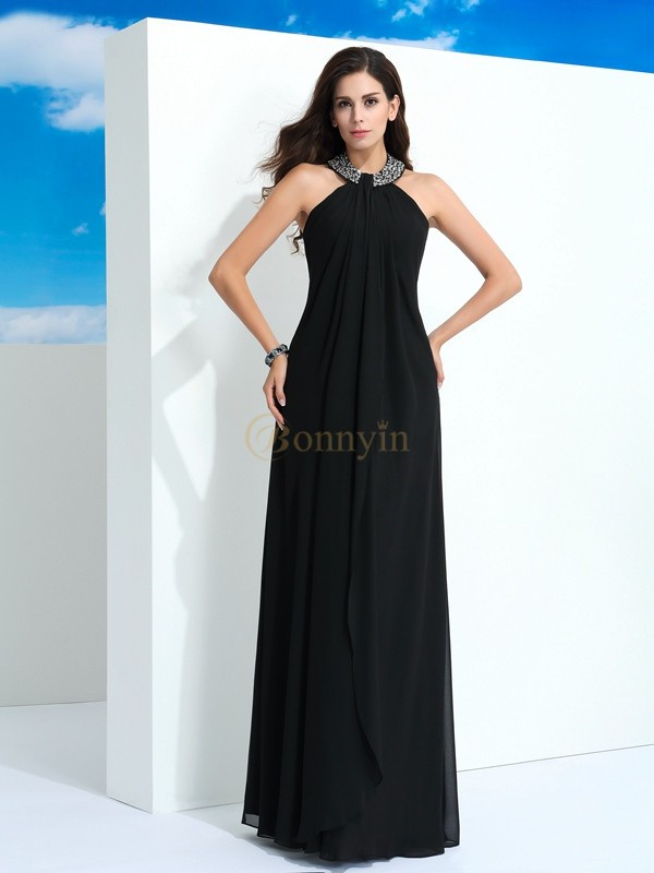Black Chiffon Halter A-Line/Princess Floor-Length Evening Dresses