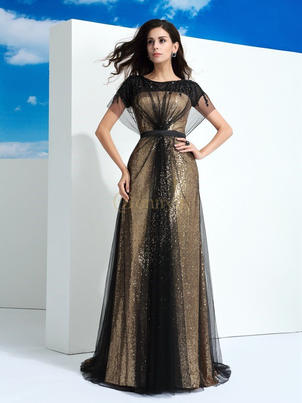 Black Net Sheer Neck A-Line/Princess Floor-Length Evening Dresses
