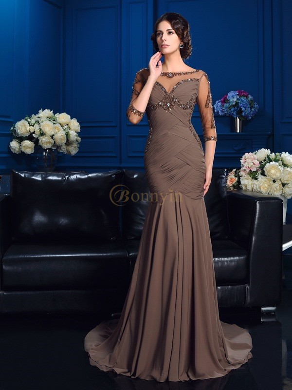 Brown Chiffon Scoop Sheath/Column Court Train Mother of the Bride Dresses