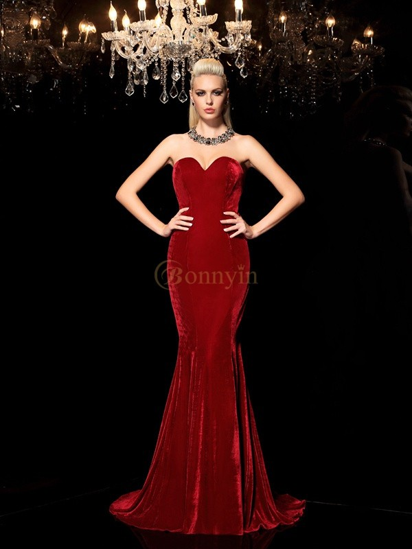 Red Velvet Sweetheart Sheath/Column Sweep/Brush Train Evening Dresses