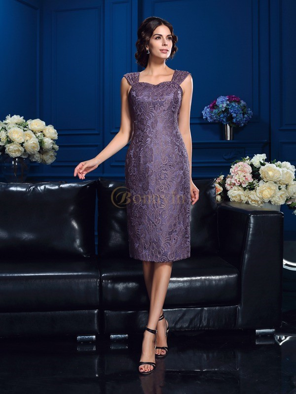 Regency Chiffon Straps Sheath/Column Knee-Length Mother of the Bride Dresses
