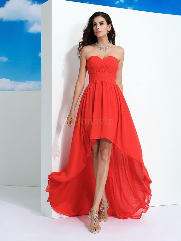 Watermelon Chiffon Sweetheart A-Line/Princess Asymmetrical Prom Dresses