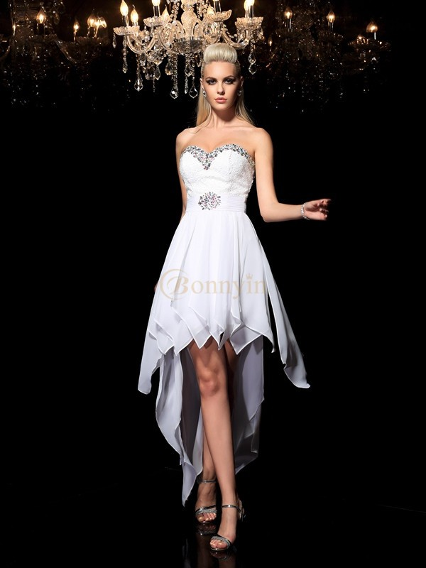 White Chiffon Sweetheart A-Line/Princess Asymmetrical Cocktail Dresses