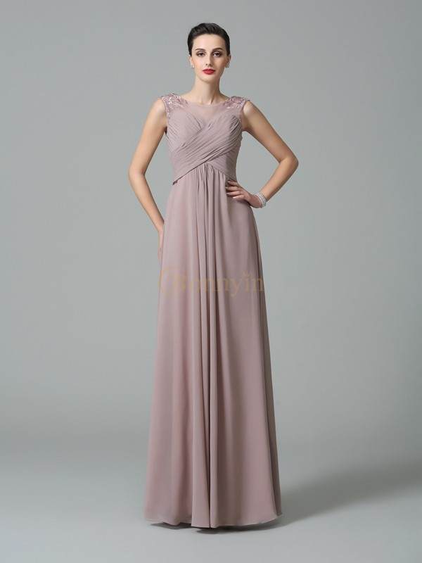 Pearl Pink Chiffon Scoop A-Line/Princess Floor-Length Bridesmaid Dresses