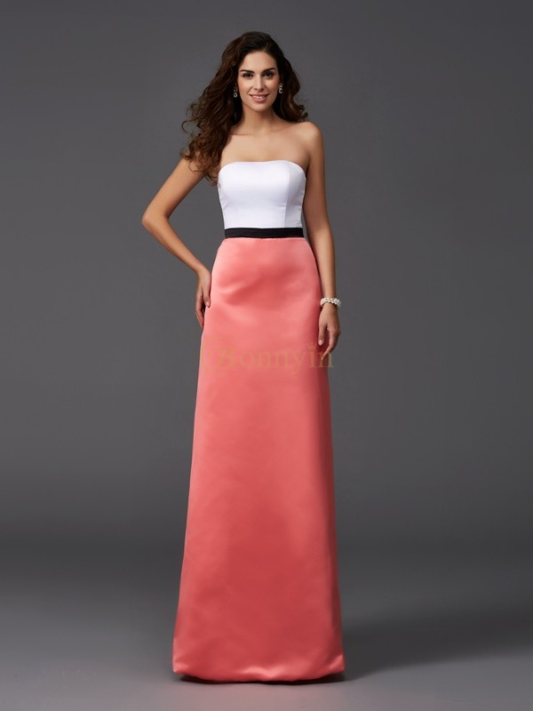Watermelon Satin Strapless A-Line/Princess Floor-Length Bridesmaid Dresses