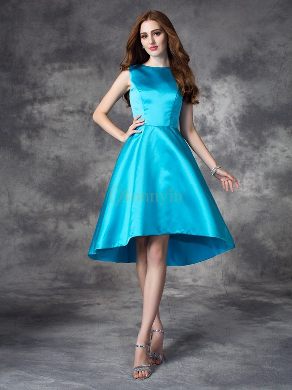 Blue Satin Bateau A-line/Princess Asymmetrical Bridesmaid Dresses