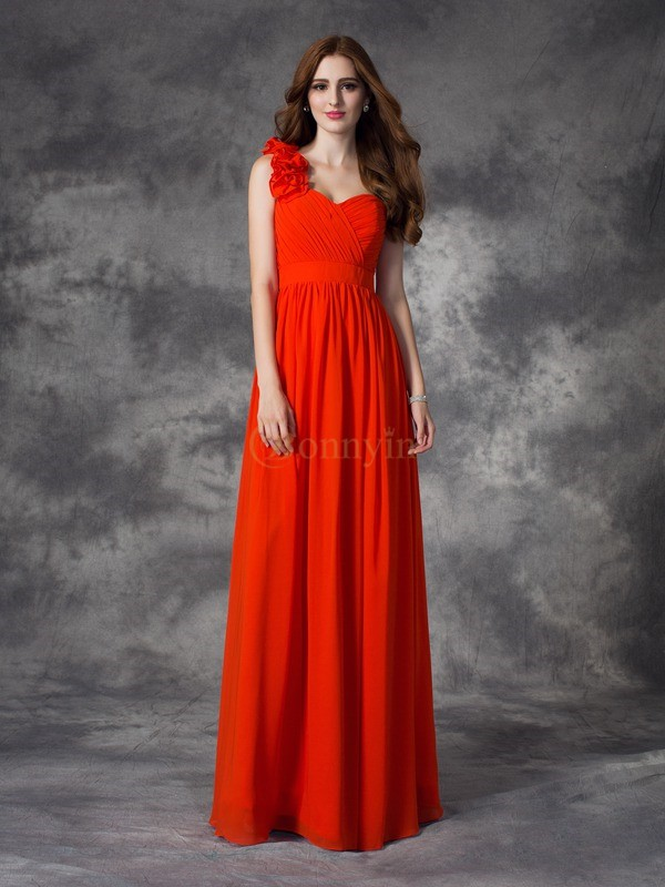 Red Chiffon One-Shoulder A-line/Princess Floor-length Bridesmaid Dresses