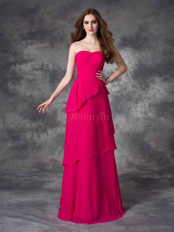 Fuchsia Chiffon Sweetheart A-line/Princess Floor-length Bridesmaid Dresses