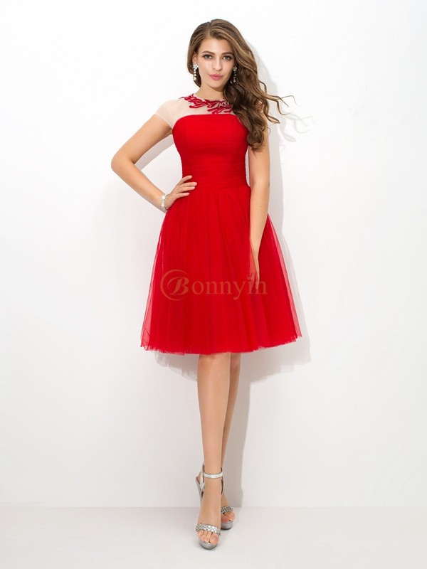 Red Net Sheer Neck A-Line/Princess Short/Mini Cocktail Dresses