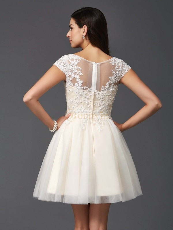 White Net Scoop A-Line/Princess Short/Mini Cocktail Dresses