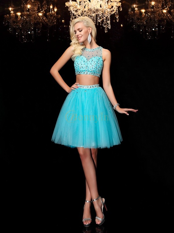 Light Sky Blue Net Scoop A-Line/Princess Short/Mini Cocktail Dresses