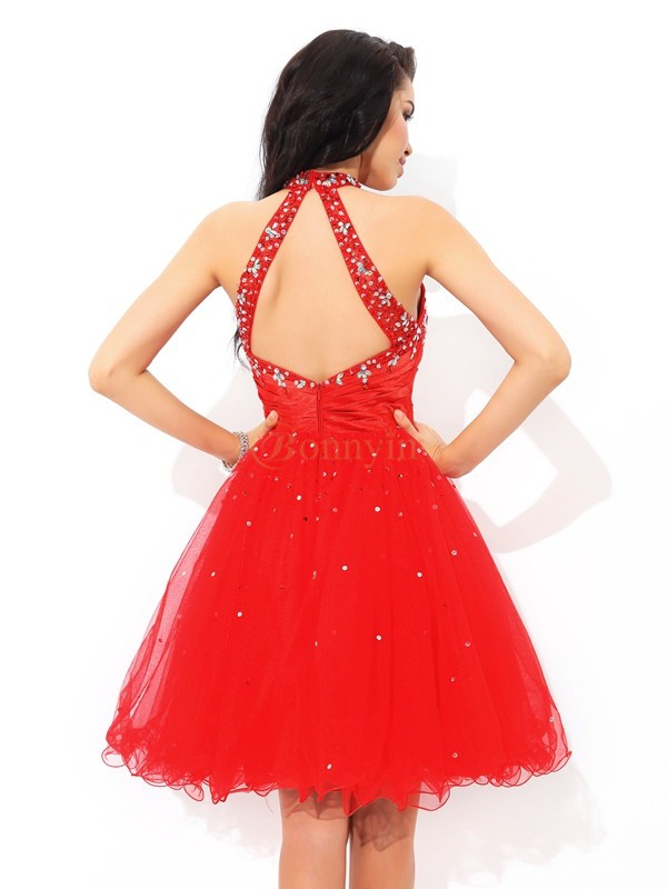 Red Net High Neck A-Line/Princess Short/Mini Cocktail Dresses