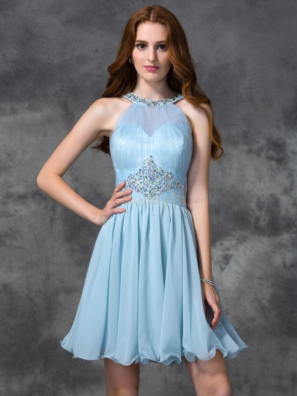 Light Sky Blue Chiffon Scoop A-line/Princess Short/Mini Cocktail Dresses