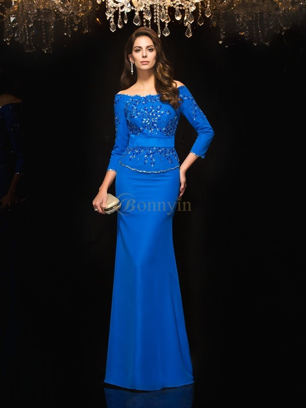 Royal Blue Chiffon Off-the-Shoulder Sheath/Column Floor-Length Evening Dresses