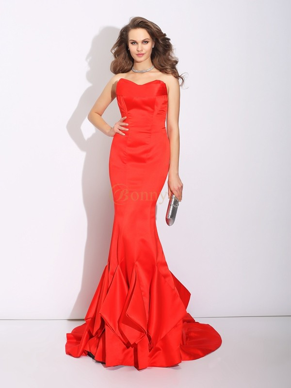 Red Satin Sweetheart Trumpet/Mermaid Court Train Evening Dresses
