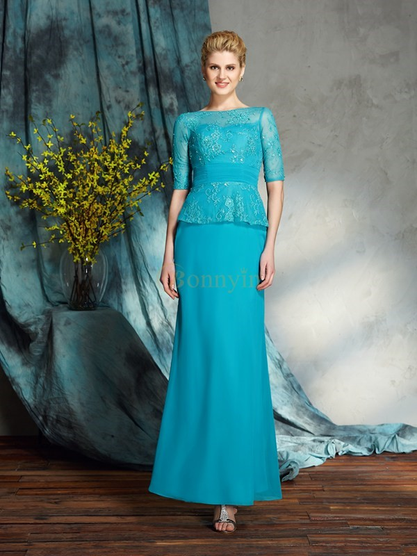 Blue Chiffon Bateau Sheath/Column Floor-Length Mother of the Bride Dresses