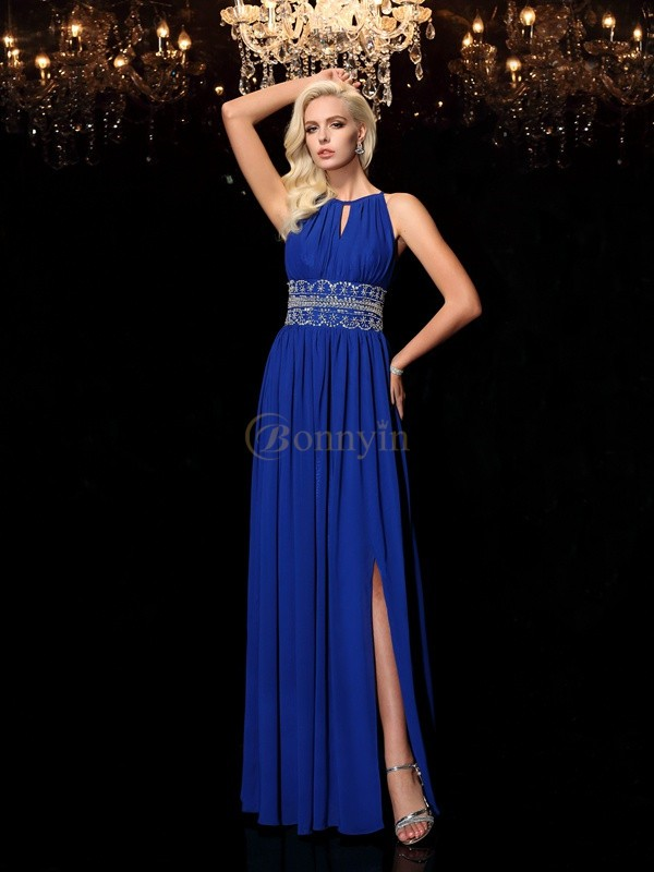 Royal Blue Chiffon Jewel A-line/Princess Floor-Length Prom Dresses