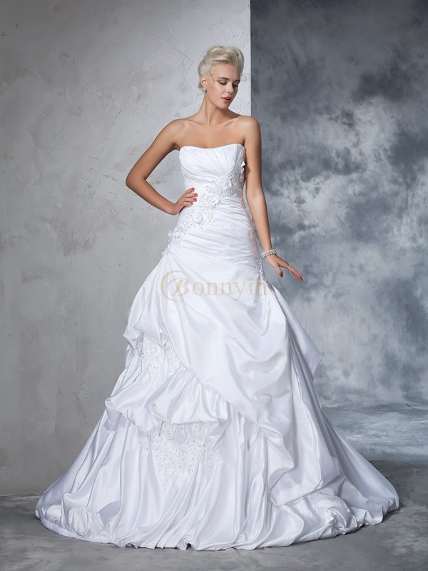 White Satin Strapless Ball Gown Chapel Train Wedding Dresses
