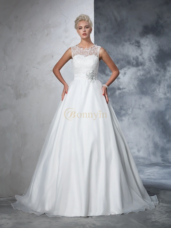 Ivory Net Sheer Neck Ball Gown Chapel Train Wedding Dresses
