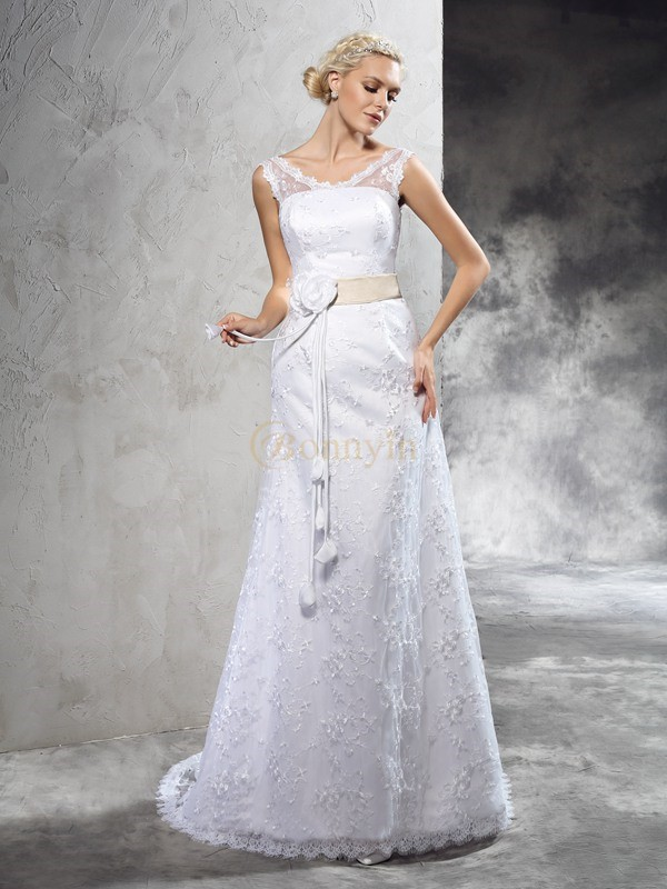 Ivory Satin Sheer Neck Sheath/Column Court Train Wedding Dresses