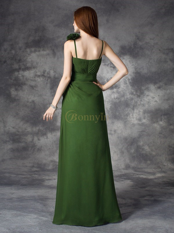 Green Chiffon V-neck A-line/Princess Floor-length Bridesmaid Dresses