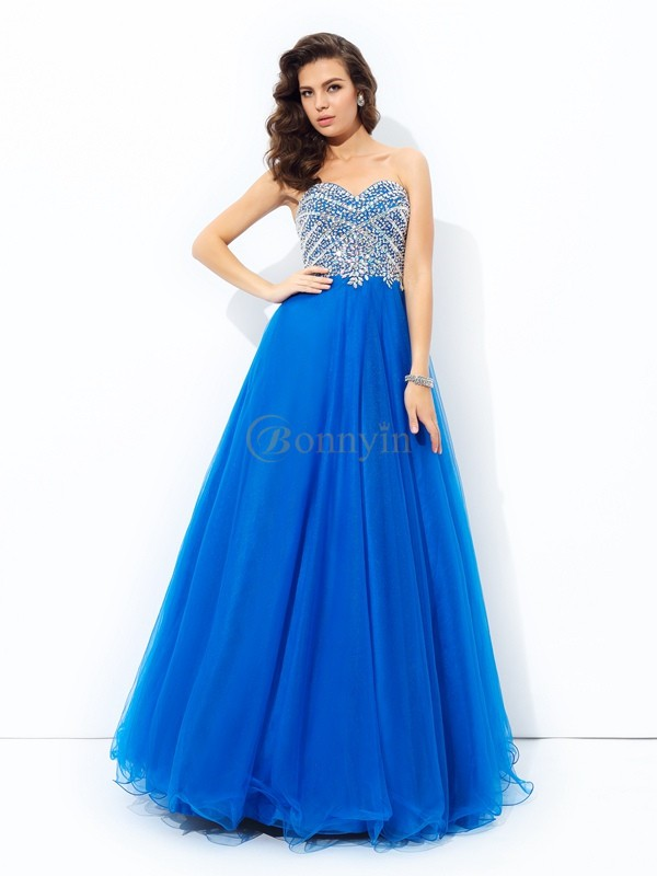 Royal Blue Net Sweetheart A-line/Princess Floor-Length Prom Dresses