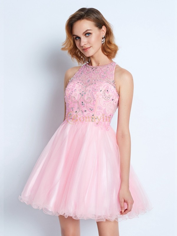 Pink Net Jewel A-Line/Princess Short/Mini Homecoming Dresses