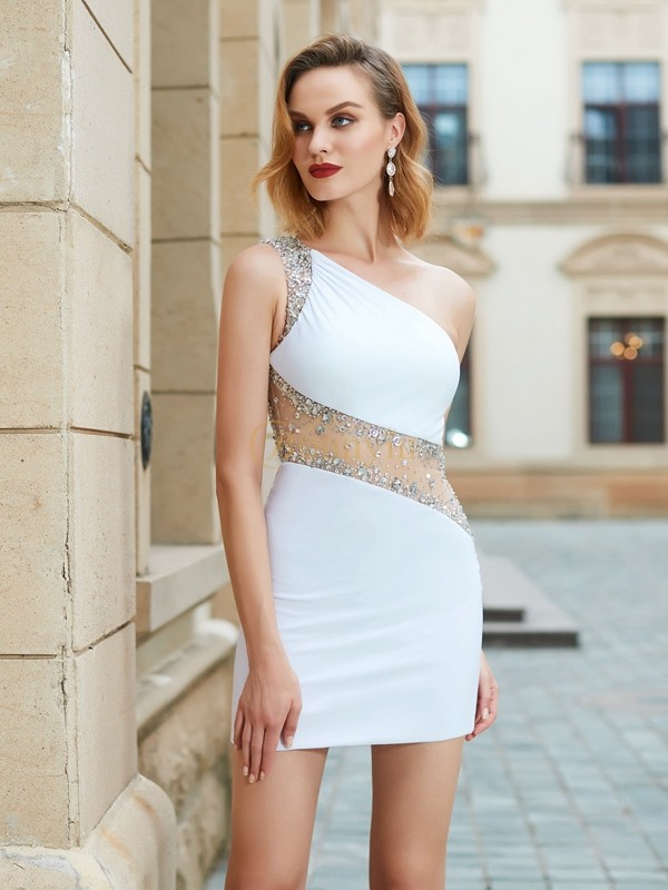 White Net One-Shoulder Sheath/Column Short/Mini Homecoming Dresses