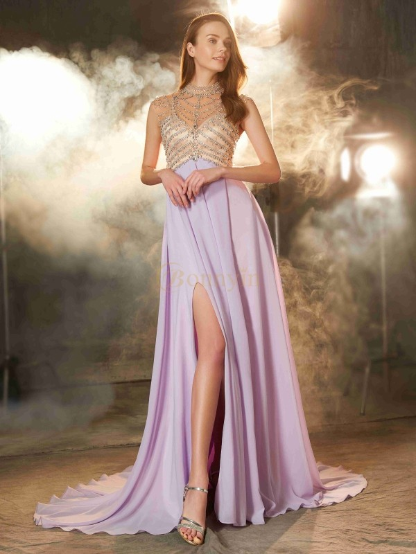 Lilac Chiffon High Neck A-Line/Princess Sweep/Brush Train Prom Dresses