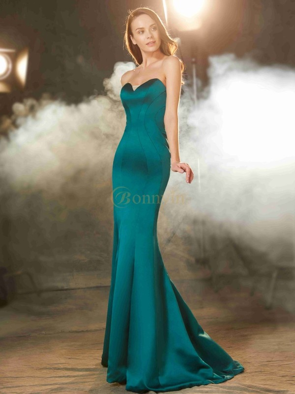 Dark Green Satin Sweetheart Trumpet/Mermaid Sweep/Brush Train Prom Dresses