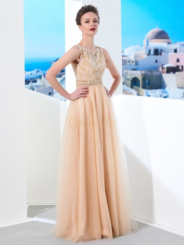 Champagne Tulle Scoop A-Line/Princess Floor-Length Dresses