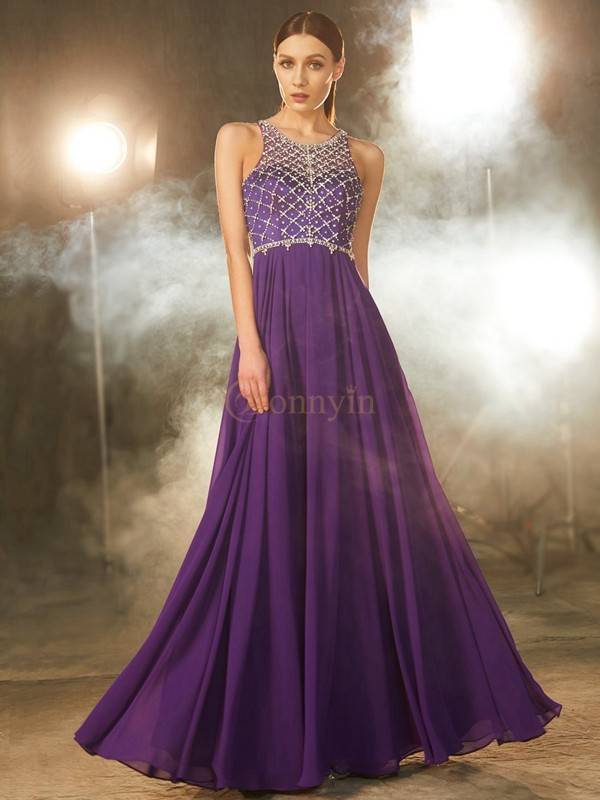 Grape Chiffon Scoop A-Line/Princess Floor-Length Prom Dresses