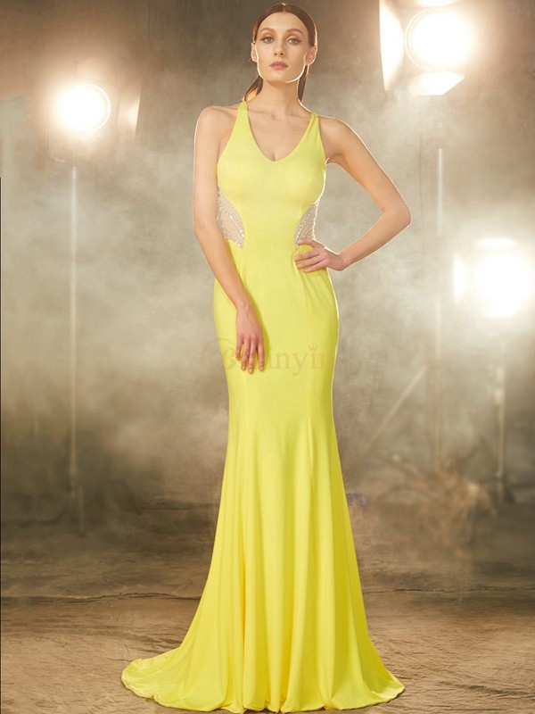 Yellow Spandex V-neck Trumpet/Mermaid Sweep/Brush Train Prom Dresses