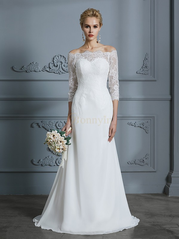Ivory Chiffon Off-the-Shoulder Trumpet/Mermaid Sweep/Brush Train Wedding Dresses