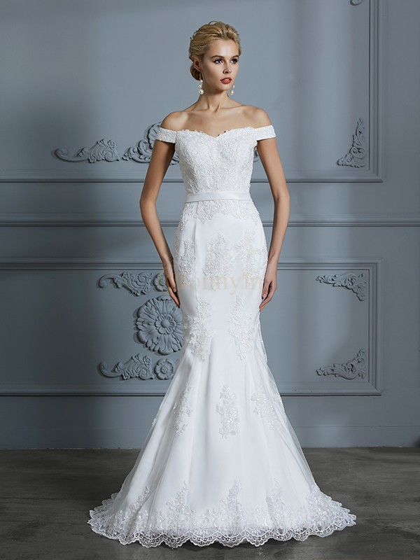 Ivory Tulle Off-the-Shoulder Trumpet/Mermaid Sweep/Brush Train Wedding Dresses