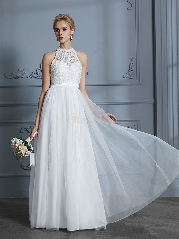 Ivory Tulle Scoop A-Line/Princess Floor-Length Wedding Dresses