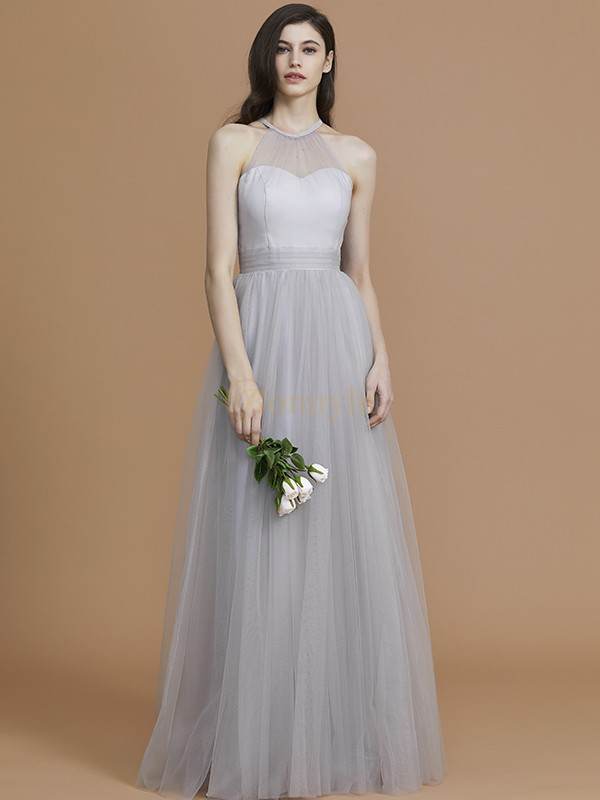 Silver Tulle Halter A-Line/Princess Floor-Length Bridesmaid Dresses