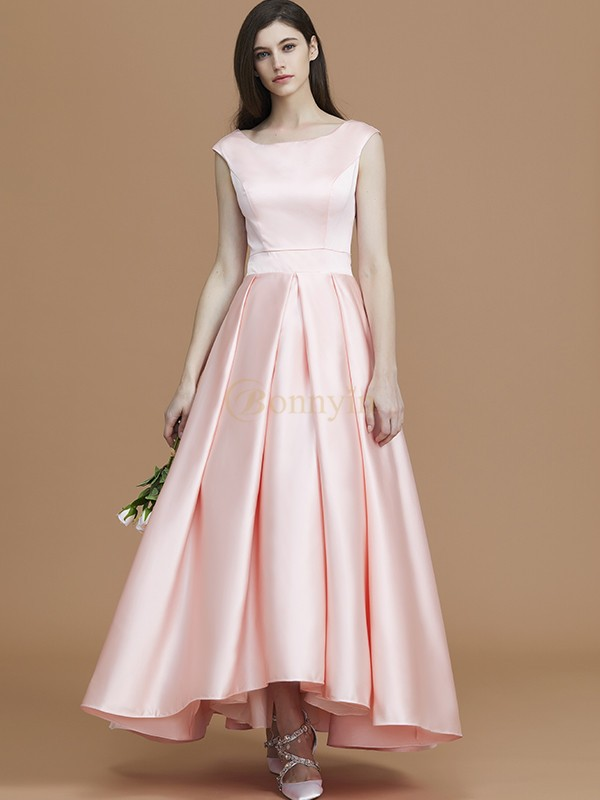 Pearl Pink Satin Bateau A-Line/Princess Asymmetrical Bridesmaid Dresses