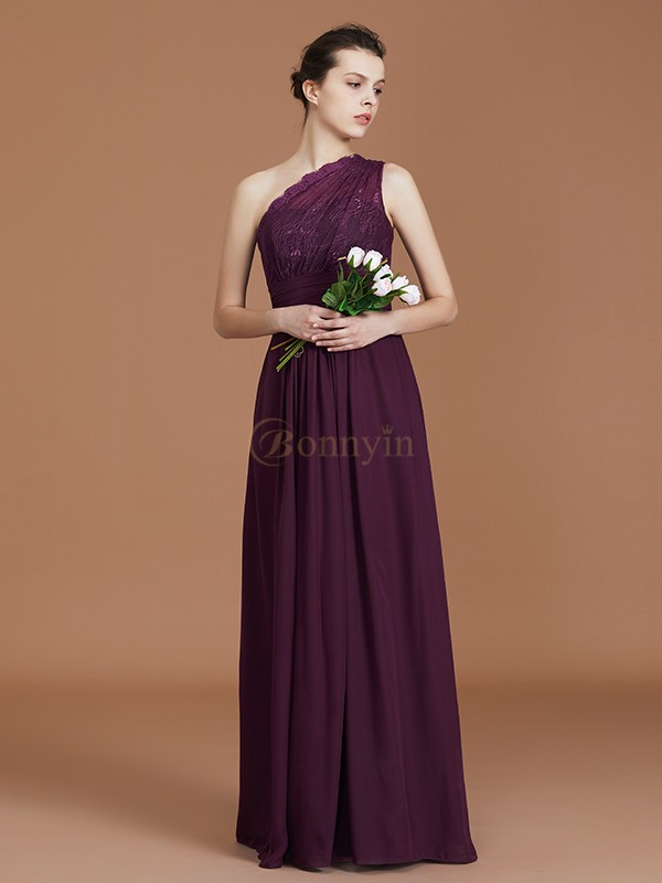 Grape Chiffon One-Shoulder A-Line/Princess Floor-Length Bridesmaid Dresses