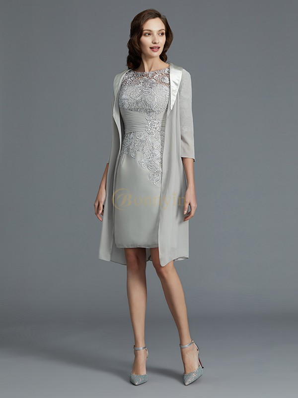Silver Chiffon Scoop Sheath/Column Short/Mini Mother of the Bride Dresses
